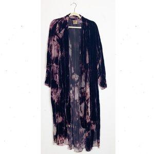 URU Art to Wear Tie Dye Velvet Duster Cardigan